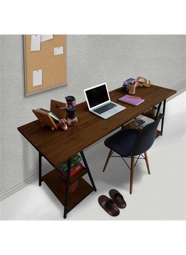 Woodesk Kamelya Masif Ceviz Renk 180x60 Çalışma Masas Renkli